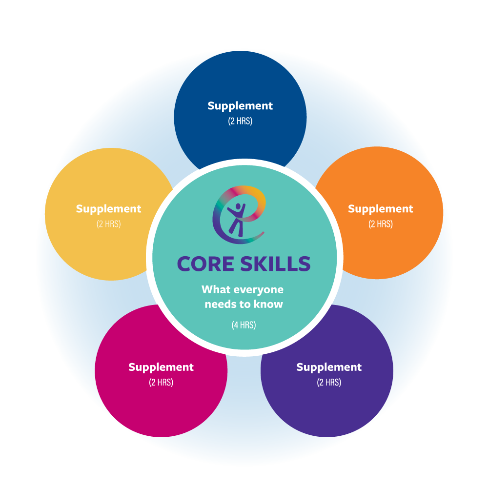 Multi-colored circular shaped Training Schematic that shows how the Core Skills Training can stand alone and is also the foundation for the 5 available supplements.