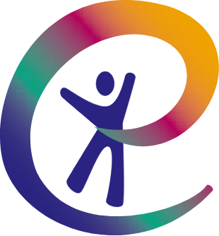 """Multi-colored circular shaped Engage with Core Skills Training logo that shows a stylized """"e"""" emanating from the heart of a gleeful figure."""