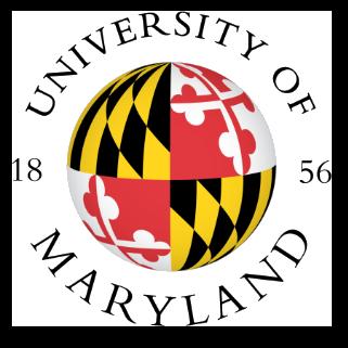 University of Maryland logo: UM established evidenced based training. University Name and est. Date – 1856 – curls around a globe wrapped with the image of the Maryland flag.